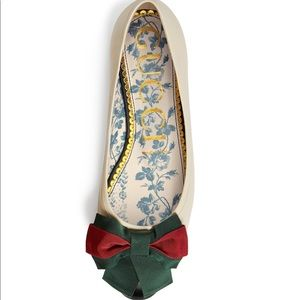NEW Gucci Jane Leather Ballet Flat With Bow